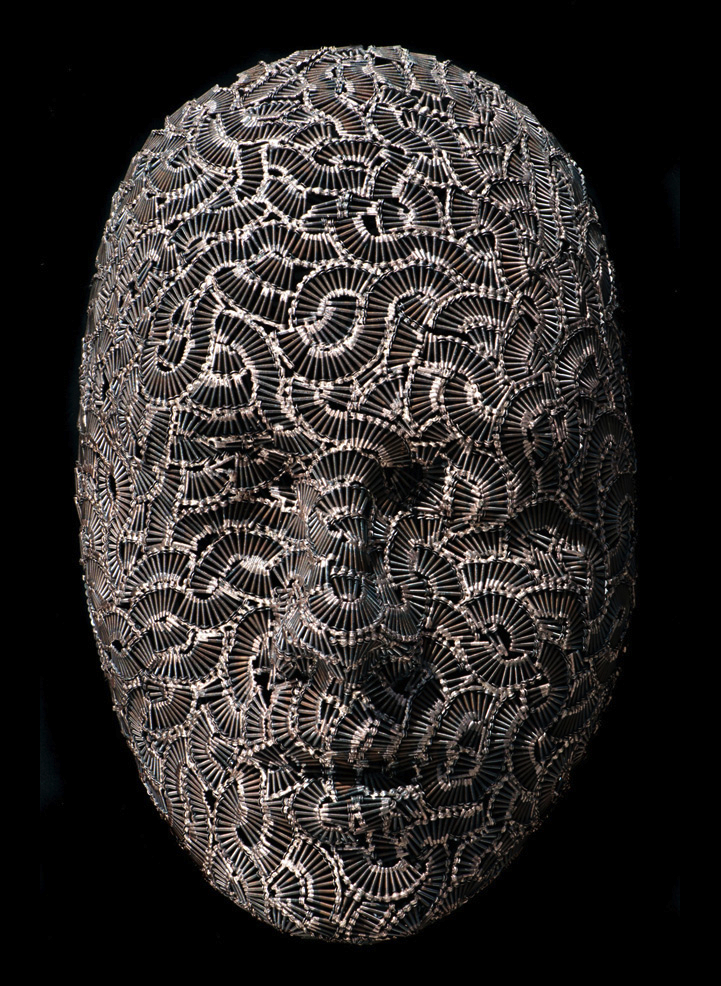 masks made of thousands of bolts