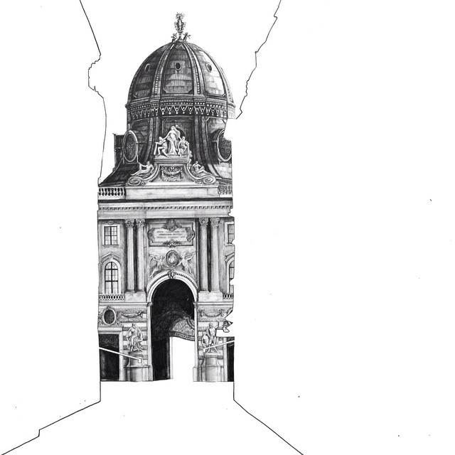 architectural drawings of buildings. Gorgeous Architectural Drawings Hidden Behind Empty Silhouettes Of Other Buildings