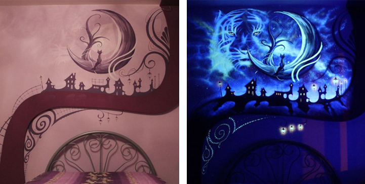 Mesmerizing bedroom mural beams with new life once the for Blacklight wall mural
