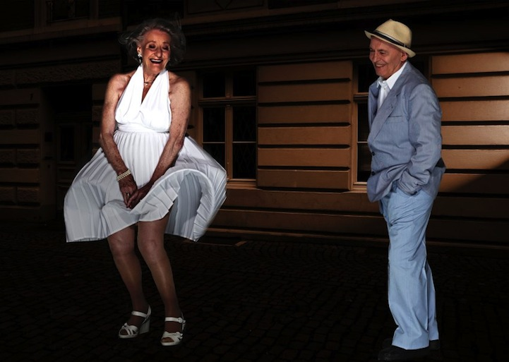 retired senior citizens playfully recreate movie scenes