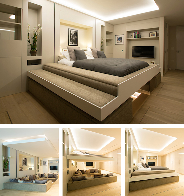 Hidden Bed Descends From Ceiling To Turn A Living Room Into The Bedroom