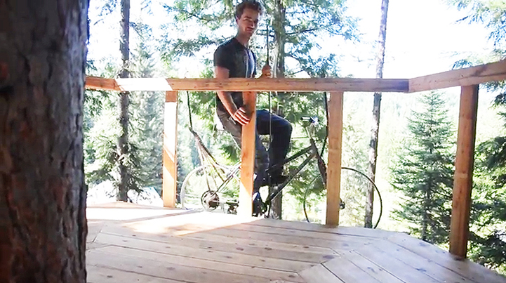Clever Treehouse Bicycle Zips Passengers 30 Feet Up