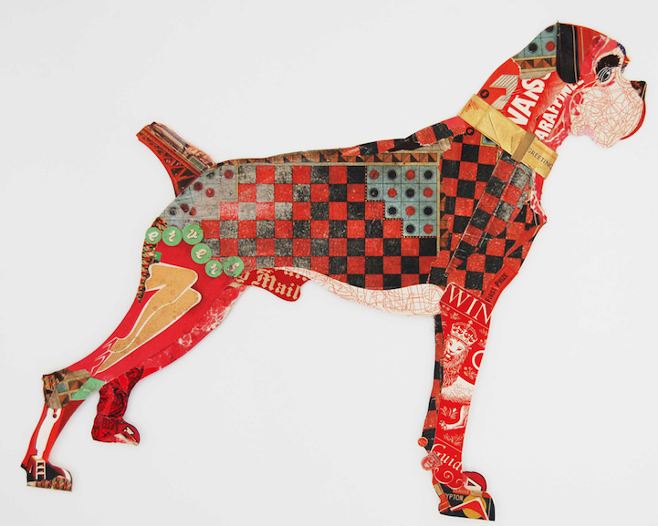 adorable dog collages made from layers of old paper