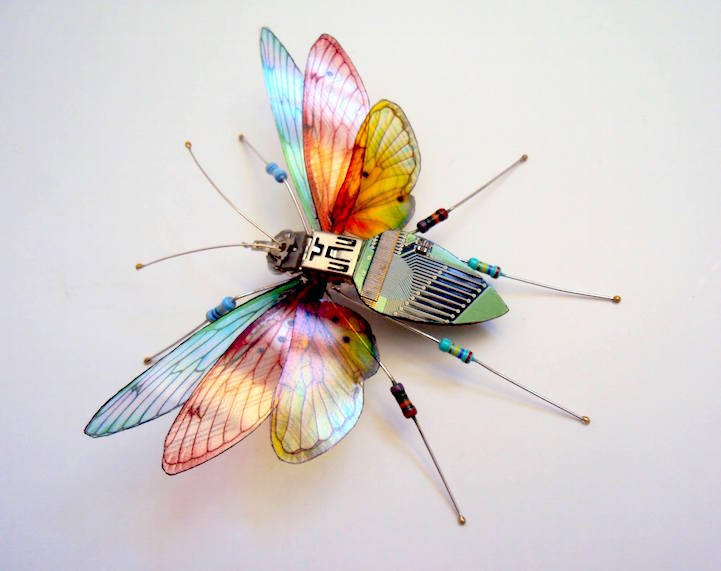 The Texas Monarch Butterfly Circuit Board Insect by Julie Alice Chappell
