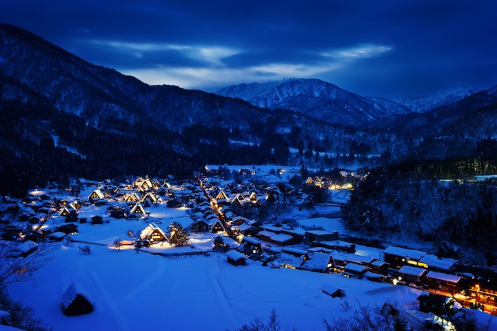gorgeous blue hour photos of a small japanese village