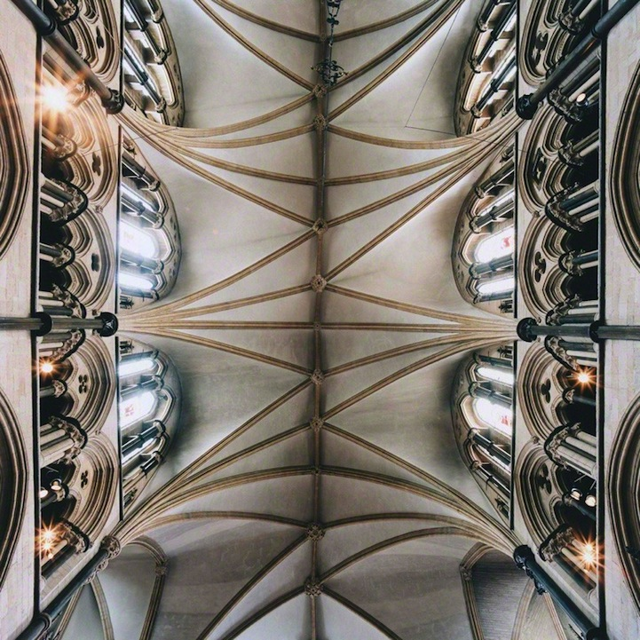 Gorgeous Geometric Patterns On Cathedral Ceilings