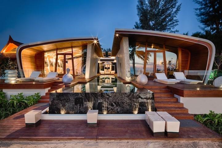 Modern beach villas inspired by the waves of the ocean for Beach villa plans