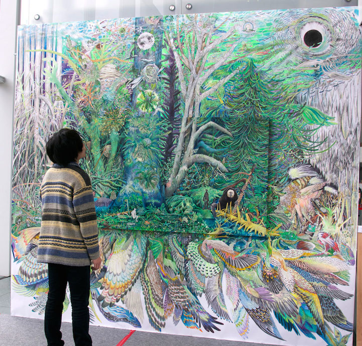 Elaborate Paintings Stretch Beyond The Canvas And Onto