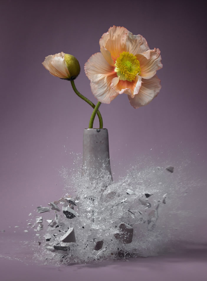 High Speed Photos Capture Delicate Vases Shattering In Mid Air