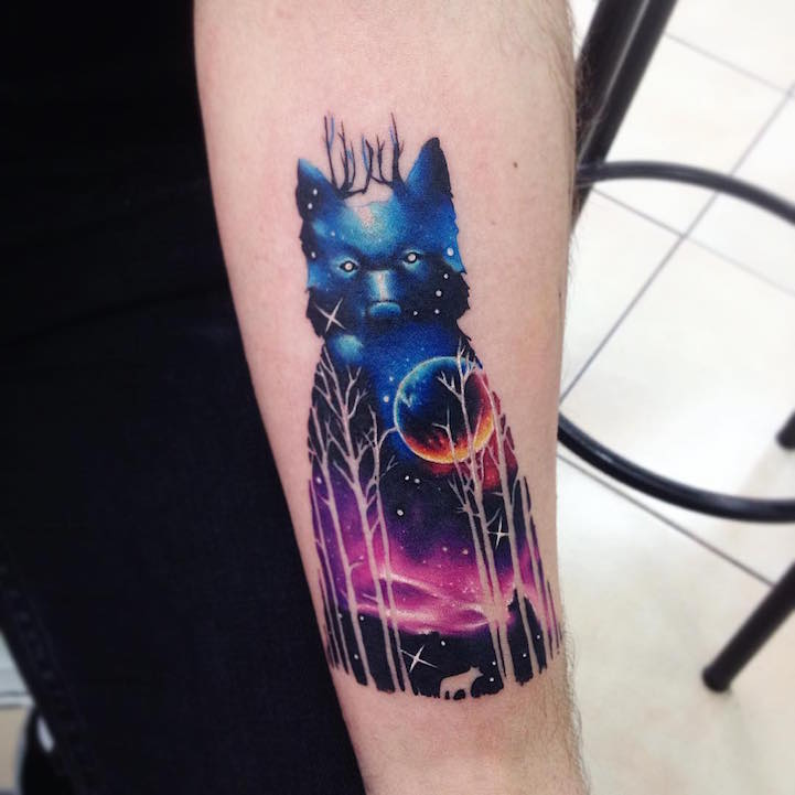 Image of: Elephant Tattoo Bascurs Animals Are Eyecatching And Beautiful But Not Too Flashyinstead They Glimmer With Imagination As If Part Of Distant Dream My Modern Met Vibrant Animal Tattoos Twinkle With Spectacular Colors Of The Galaxy