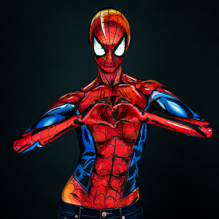 Incredibly Realistic Marvel Comic Characters Revealed Through Body Painting