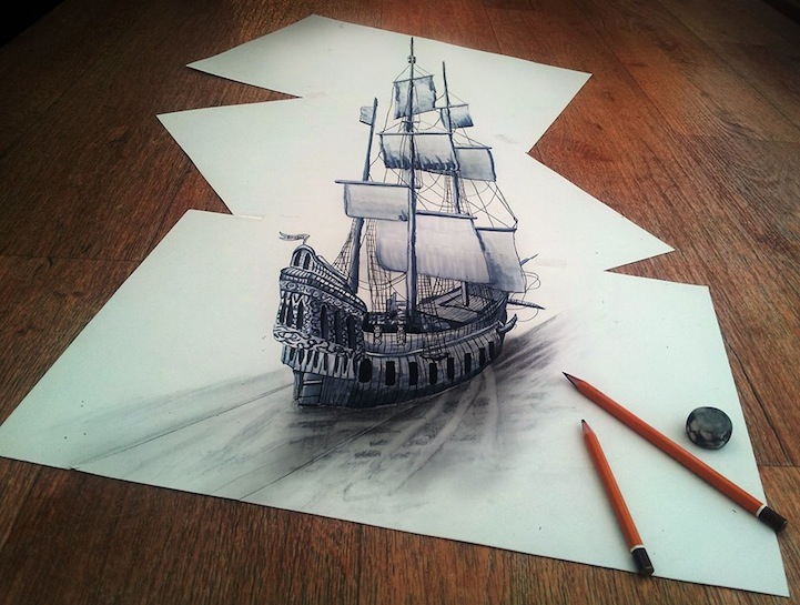 mind boggling 3d drawings on flat sheets of paper