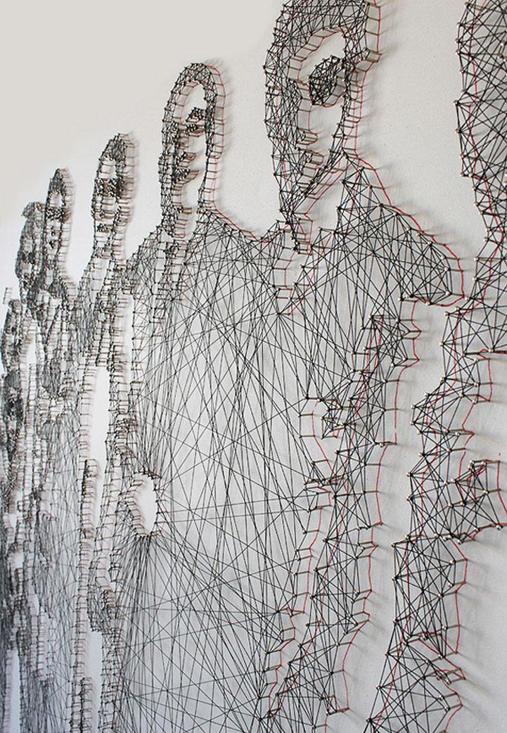 Geometric Thread And Nail Portraits