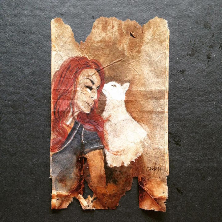 Artist Uses Soggy Stained Tea Bags As Canvas For Detailed
