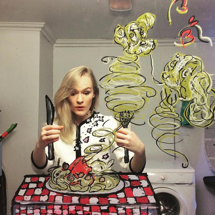 Artist Creates Doodles On Mirrors To Turn Bathroom Selfies