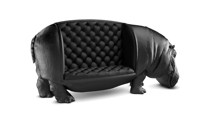 Amazingly regal couch shaped like a life size hippo for Hipo muebles