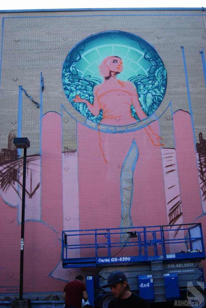 Massive art nouveau inspired mural in montreal for Art mural montreal