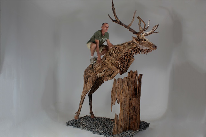 Life Size Driftwood Animal Sculptures By James Doran Webb