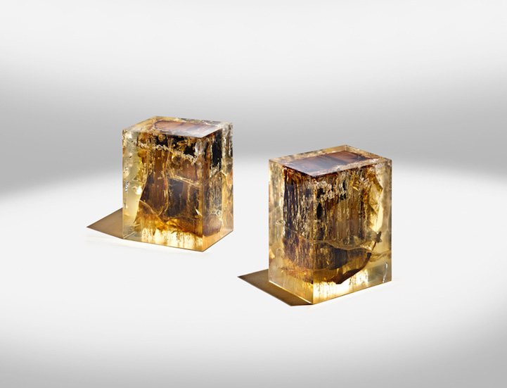 Luminous Modern Furniture Sculpted With Ancient Wood In Resin