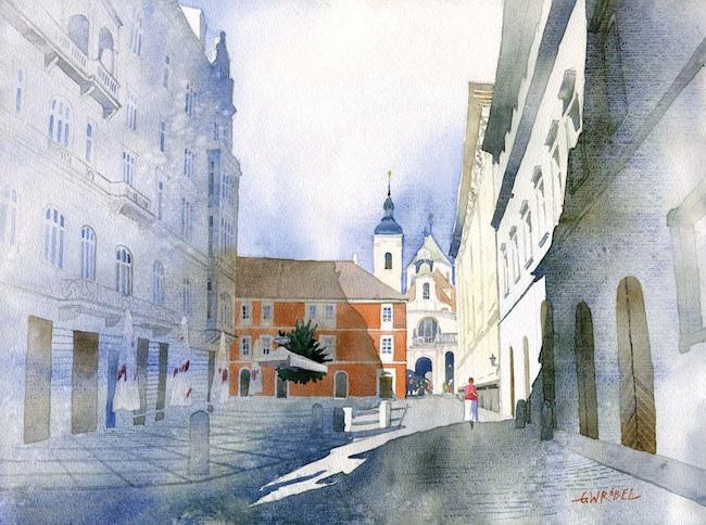 Beautiful Watercolor Street Scenes by Grzegorz Wrbel