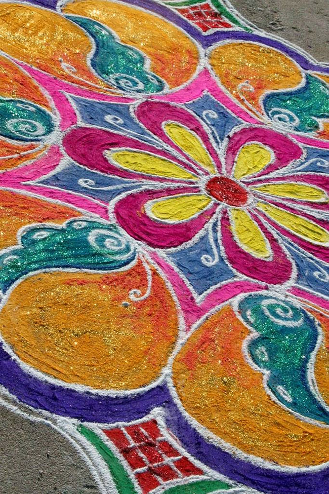 Indian Folk Art Rangoli Uses Colorful Flour And Rice In Stunning