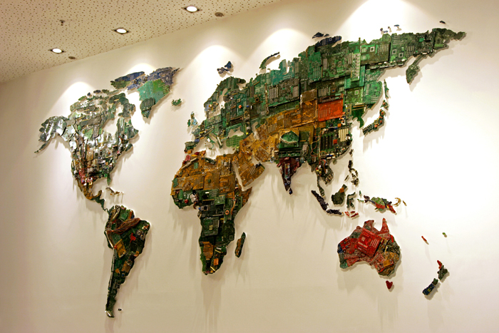 Computer parts world map symbolizes digital future gumiabroncs Gallery