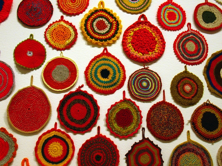 Colorful Wall of Crocheted Everyday Items