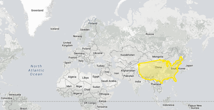 Eye opening true size map shows the real size of countries on a this is what china looks like on different parts of the map gumiabroncs Gallery
