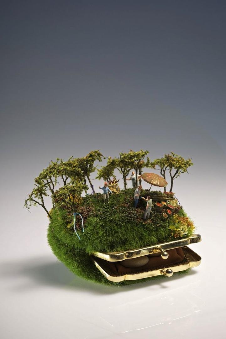 Playful miniature sculptures inspire imaginative narratives