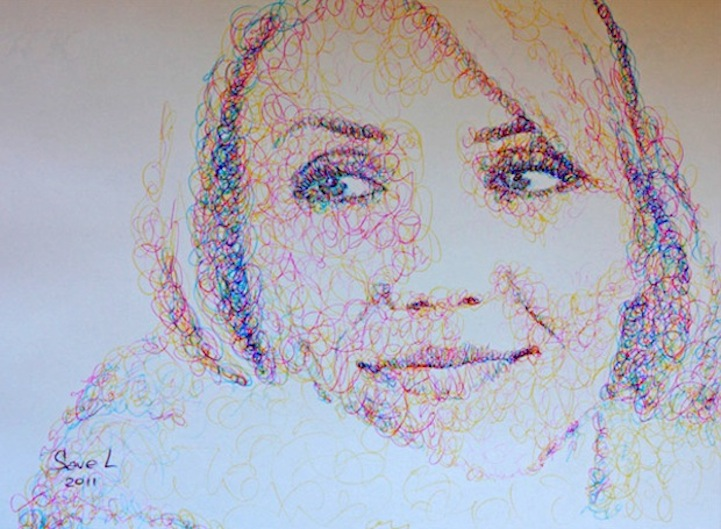 Simple scribble drawing : Colorful celebrity portraits made of scribbles