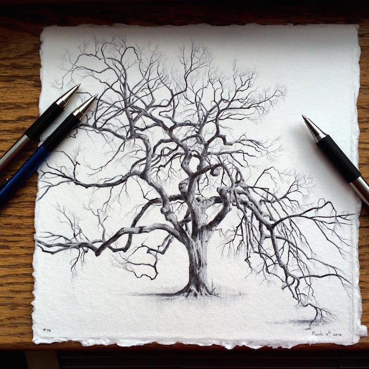 Artist Reflects On Life During Pregnancy By Drawing Trees