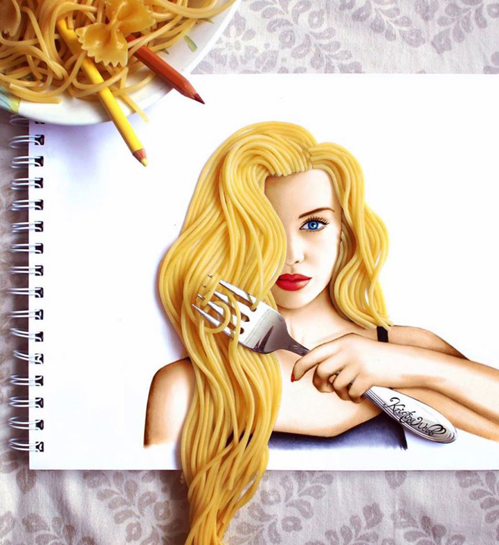 19 year old artist uses flowers and food to complete her colorful