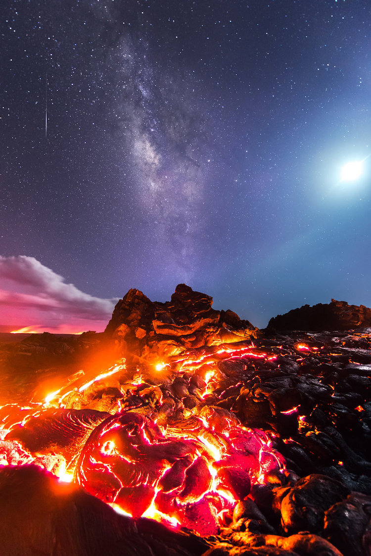 Photograph Of A Lifetime With Moon, Milky Way, Meteor And Lava
