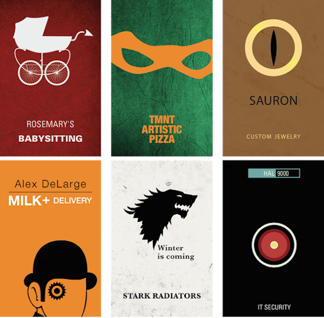 Funny Business Cards Featuring Famous Pop Culture Characters My