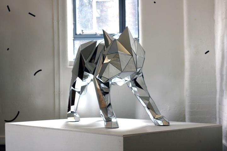 Stunning geometric mirrored animal sculptures
