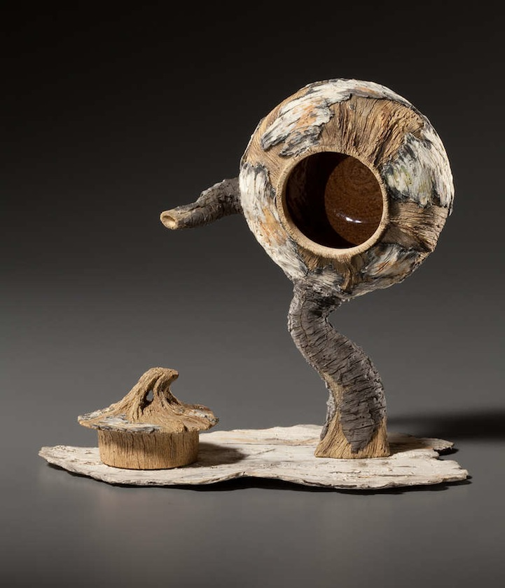 beautiful ceramic teapots shaped like weathered tree parts