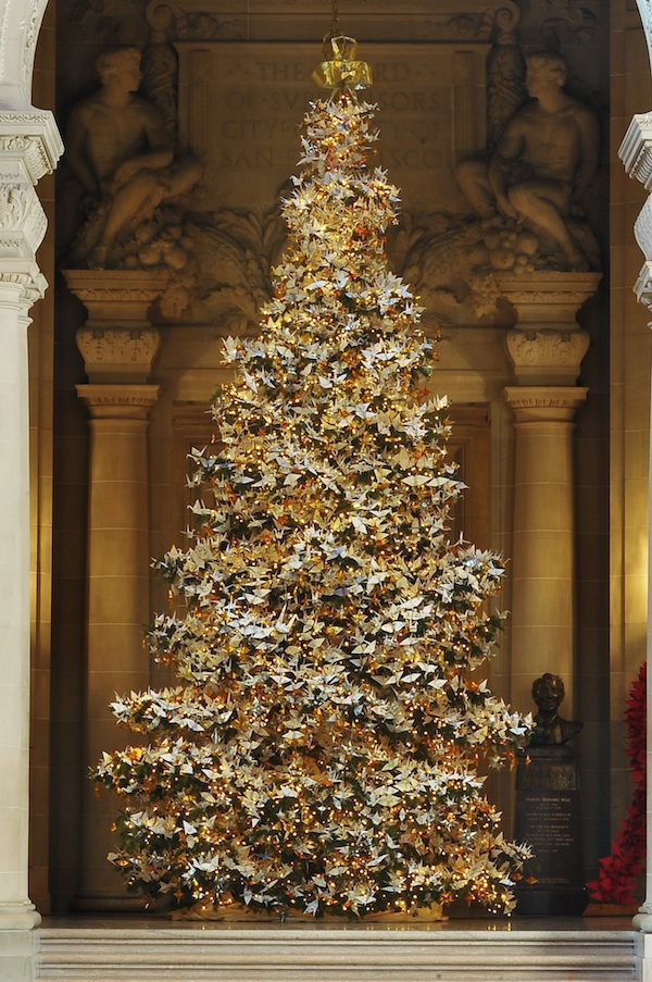 Wish Filled Origami Cranes Adorn Christmas Tree