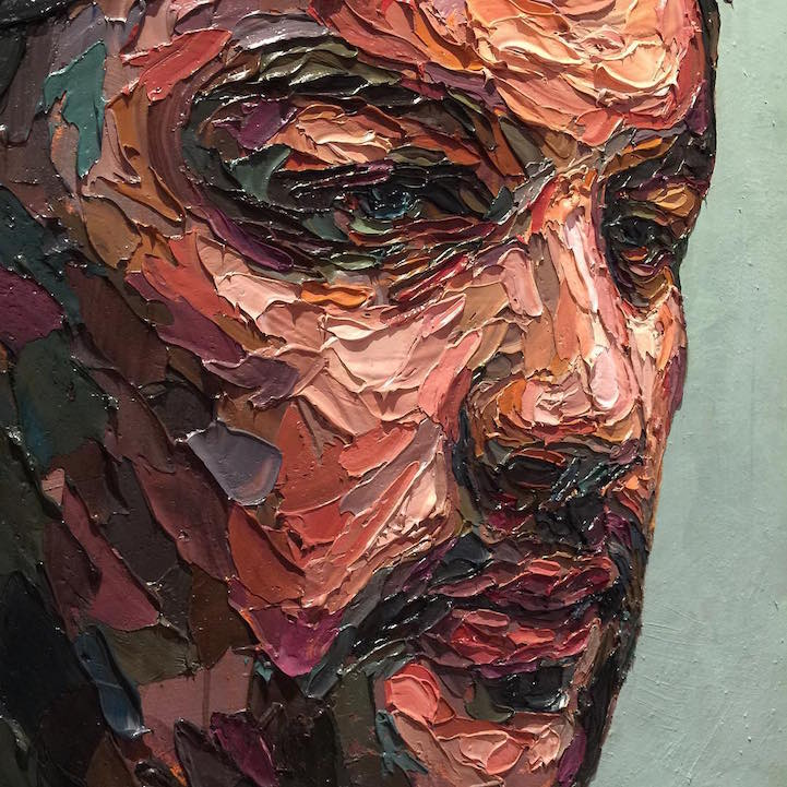 multicolored palette knife paintings explore the many