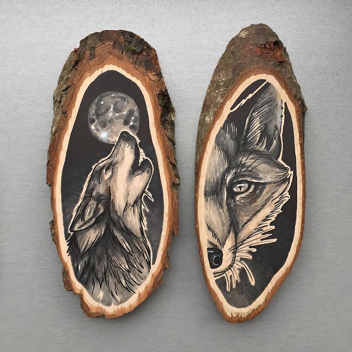 Artist uses wood slices as organic canvas for nature