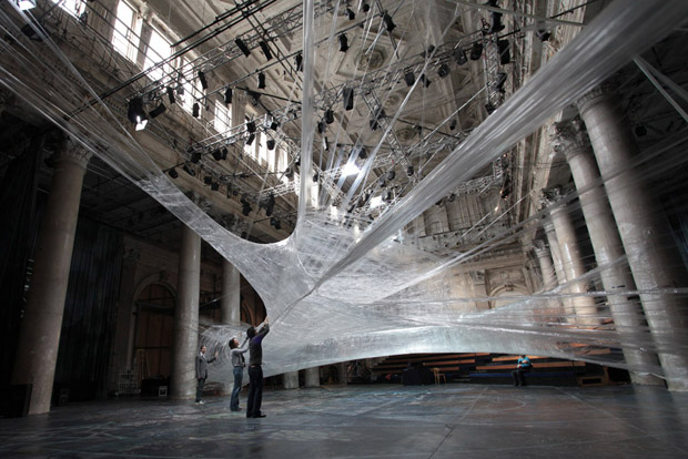 Sick Spider Web Installation Made of Packaging Tape (6 pics)