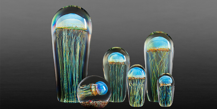 Glass jellyfish sculptures are innovative pieces of blown