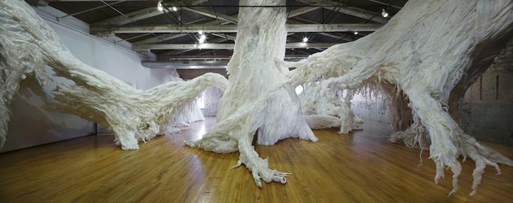 Gigantic Paper Trees Burst Through Ceiling