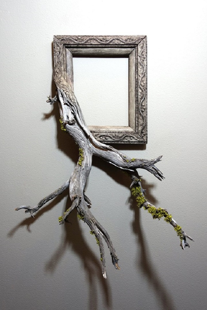 Salvaged Tree Branches Seamlessly Emerge from Antique Picture Frames