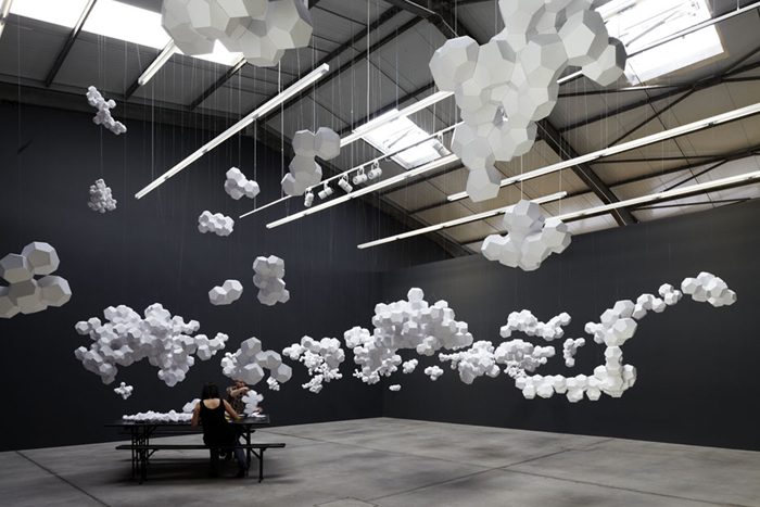 Paper Clouds Suspended In Geometric Clusters