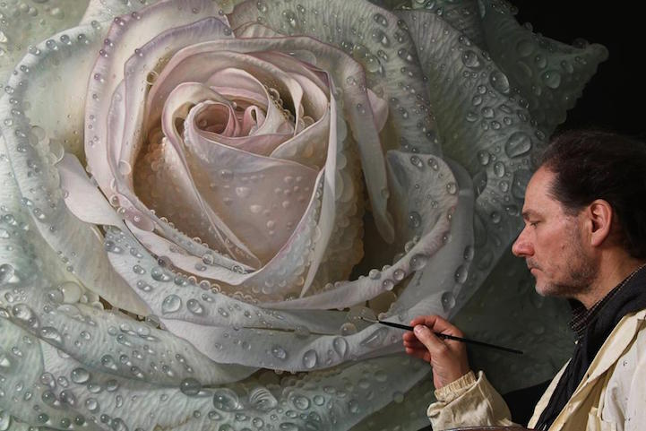 Giant Paintings Of Roses Covered In Dewdrops Capture Every