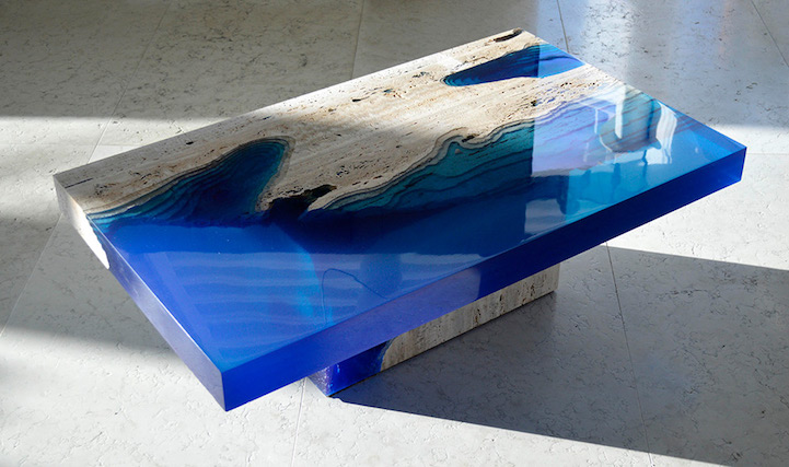 Marble And Resin Tables Incorporate The Soothing Depth Of A Blue Lagoon