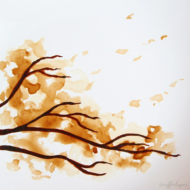Coffee-Stained Leaf Paintings Created with Remnants of a ...