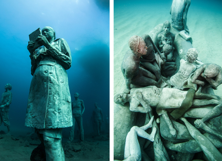 Hyperrealistic Human Sculptures Submerged In Europeaposs First - Europes first ever underwater museum is full of hyperrealistic human sculptures