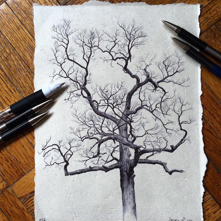 Artist Reflects On Life During Pregnancy By Drawing Trees From