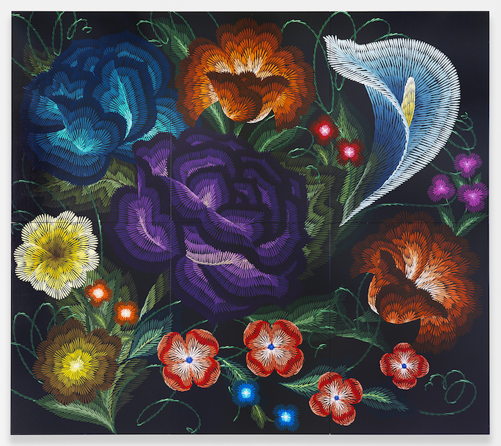 Flowers On Glass Paintings